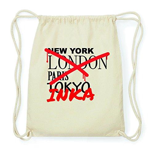 JOllify INKA Hipster Turnbeutel Tasche Rucksack aus Baumwolle - Farbe: natur Design: Grafitti KGdKB