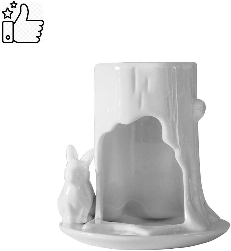 Wax Melt Burners White Ceramic Rabbit Aromatherapy Furnace Incense Essential Oil Lamp Tea Candle Holder Decoration Amazon Co Uk Kitchen Home