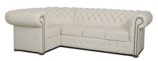 Casa Padrino Chesterfield sofá esquinero de Piel Genuina ...