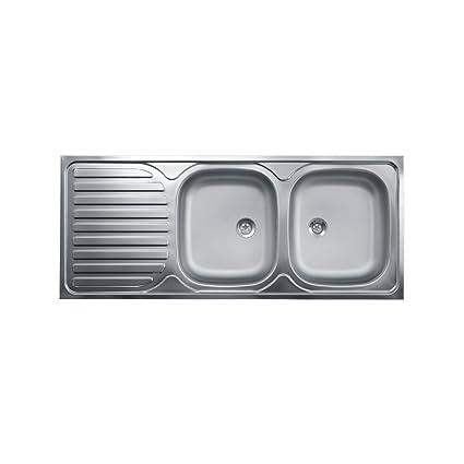 WEBMARKETPOINT Lavello Cucina Due Vasche con Gocciolatoio SX Acciaio ...