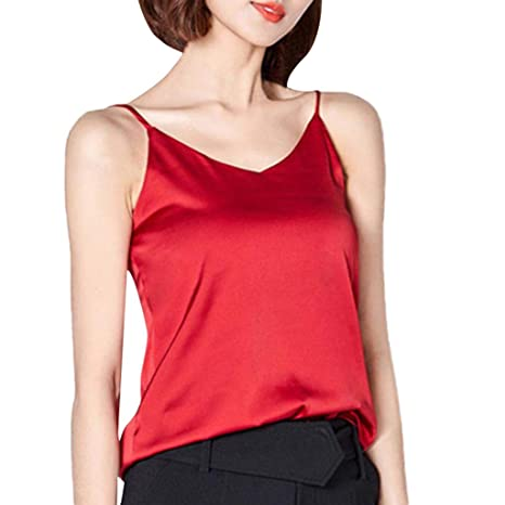 2f0a308c98d Amazon.com: Tank Tops Women Silk Sexy Camisole Woman Blouse Bottom Shirt  Sweet Satin Caracos Sleeveless T shirt Toponly: Appliances