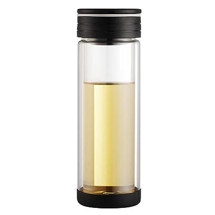Nueva llegada de la botella de agua creativa de cristal Copas de cristal con té Infuser