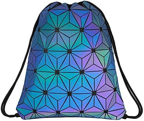 Geometrischer Rucksack für Damen, Laser-Schulrucksack, holografisch, reflektierend, Schultertasche, Reisen, Uni-Rucksack