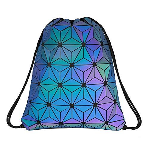 Geometric Lingge Drawstring Bag Luminous Gym Bag Sport Backpack Holographic Reflective Shoulder Bags Travel College Rucksack for Women Men -
