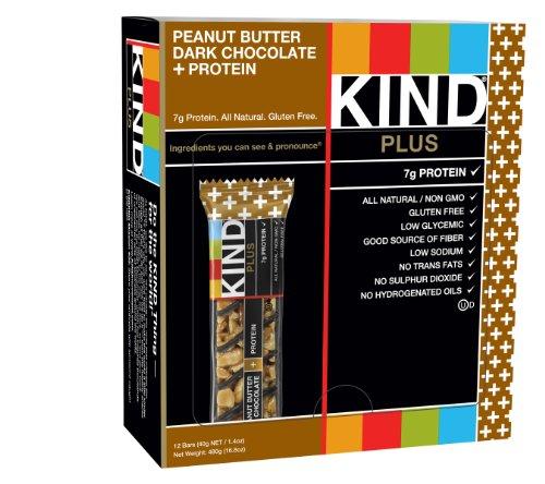 PLUS SORTE, beurre d'arachide au chocolat noir + Protéines, bars sans gluten, 1,4 once, 12 comte