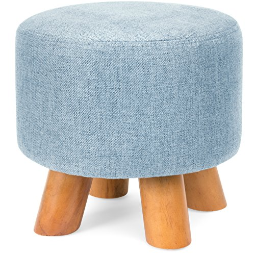 Best Choice Products Upholstered Padded Lightweight Pouf Ottoman Footrest Stool w/Removable Linen Cover, Non-Skid Wooden Legs, 440lbs Weight Capacity – Denim Blue