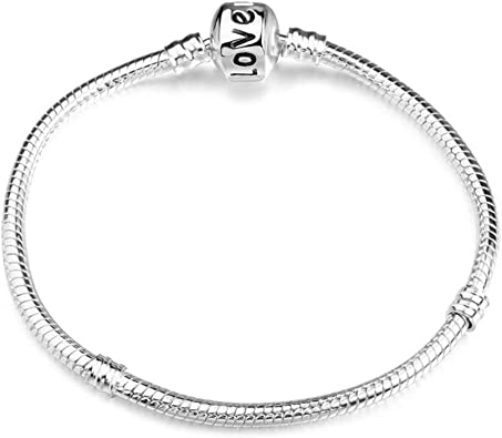 with silver heart 17cm Pan Style Snake charm Bracelet
