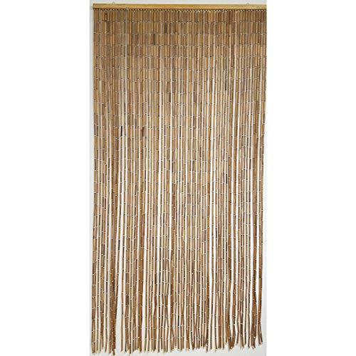 EVIDECO 55013 Wooden Sticks Beaded Curtain Doorway 65 Strings Natural 78.8