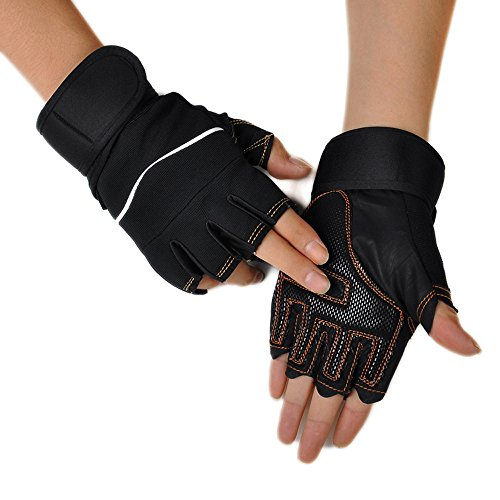 Weight Lifting Gloves Wrist Wraps Weightlifting Gloves Ultralight Exercise Training Cross Training Fit Bodybuilding Fitness Workout Gym Breathable Anti-Slip Grip Half-finger Gloves (Black)