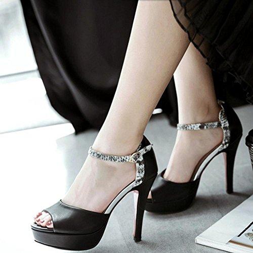 TAOFFEN Black Talons Peep Plateforme Mode Aiguille Toe Sandales Femmes r8wrqAH
