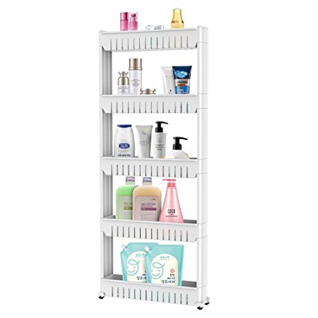 Popamazing 5 Tier Slim Storage Tower Kitchen Bedroom Removable Storage Rack  Bathroom Shelf With Wheels