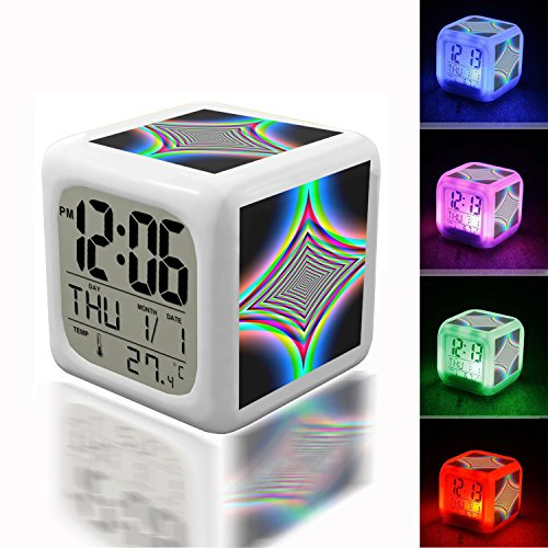 (Alarm Clock 7 LED Color Changing Wake Up Bedroom with Data and Temperature Display (Changable Color) Customize The pattern-227.Abstract, Cobalt, Blue, Navy, Light, Glow, Special)