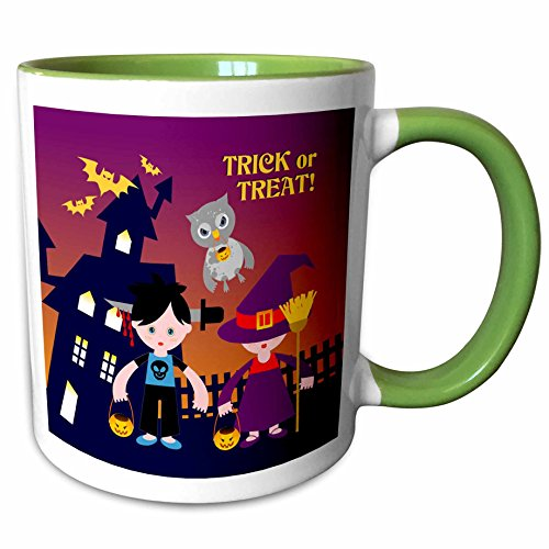 3dRose Belinha Fernandes - Halloween Celebration - Trick or treat message with owl and kids dressed up in halloween costumes - 11oz Two-Tone Green Mug (mug_125914_7) (Owl Dressed Up For Halloween)