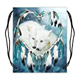 Cool Wolf Wolves Dreamcatcher Sport Ball Drawstring Backpack, Basketball Drawstring Bags Backpack - 16.5