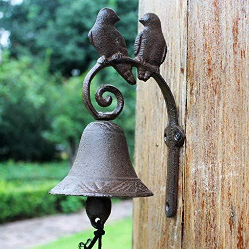 風鈴ヴィンテージ錬鉄愛鳥ドアベル鋳鉄ベル手作りガーデンフロントドアベル9.5x15x23cm鋳鉄ドアベル