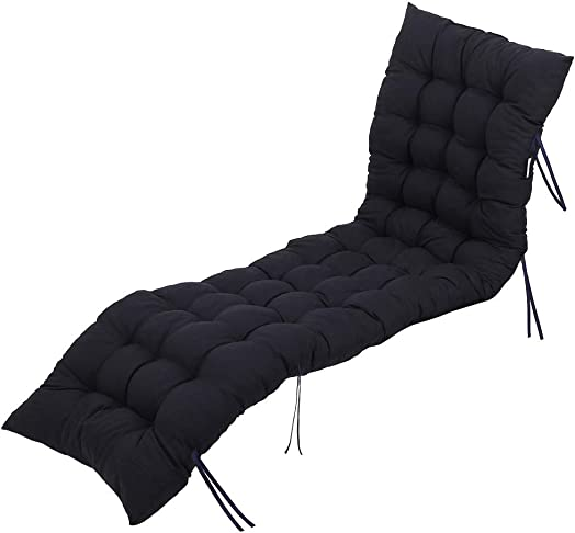 uublik 61 Inch Not-Slip Patio Chaise Lounger Cushion Chaise Lounger Cushions Rocking Chair Sofa Cushion with 8 Loop Bands for Fixing,Home Thicken Lengthen Lounger Cushions Black
