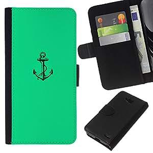 KLONGSHOP // Tirón de la caja Cartera de cuero con ranuras para tarjetas - Mar verde vibrante Marinero Barco - LG OPTIMUS L90 //