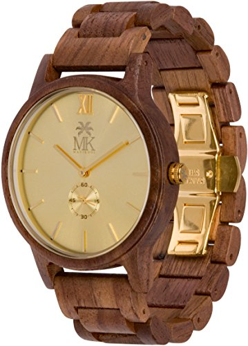 Wooden Watch For Men Maui Kool Kaanapali Collection Walnut Wood Watch Gold Face Bamboo Gift Box