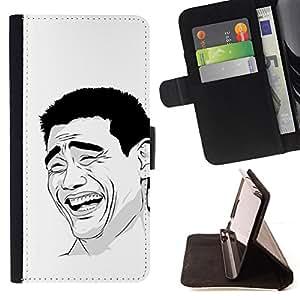 BullDog Case - FOR/Samsung ALPHA G850 / - / Funny Laughing Yao Ming Chinese Troll /- Monedero de cuero de la PU Llevar cubierta de la caja con el ID Credit Card Slots Flip funda de cuer
