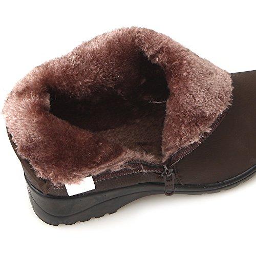 Nuovo Uomo Inverno Neve Abito Caldo Casual Con Cerniera Alla Caviglia Con Cerniera In Pelle Stivali Scarpe Nere