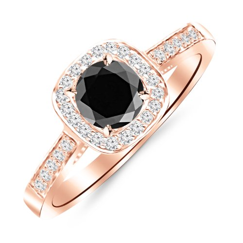 2 Ct Diamond Solitaire Engagement Ring - 2.25 Carat Graduating Classic Cushion Halo Prong and Pave-Set Diamond Engagement Ring 14K Rose Gold with a 2 Carat Round Cut AAA Quality Black Diamond (Heirloom Quality)