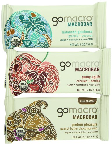 GoMacro Organic Variety Pack of Peanut Butter Chocolate Chip, Granola with Coconut, and Cherries and Berries, 1.8 oz- 2.5 oz Bars (Pack of - Bar Ounce 2.5