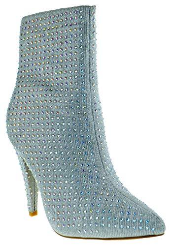 Anne Michele Magnolia 09S Womens Rhinestone Metallic Knit Stiletto Pointy Toe Booties Silver 9 ()