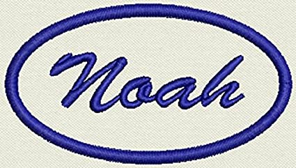 NOAH  NEW EMBROIDERED  SEW IRON ON NAME PATCH BLUE ON WHITE