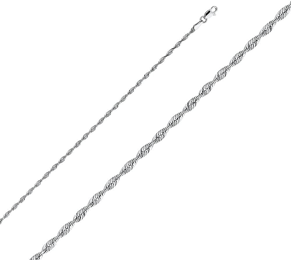 Jewels By Lux 14K White Gold 1mm Rope Chain