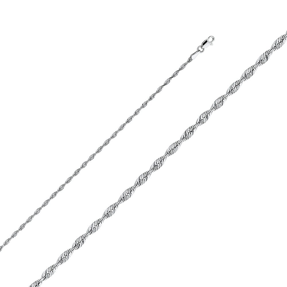 TGDJ 14k Yellow OR White Gold Solid 2.5mm Diamond Cut Rope Chain Necklace with Lobster Claw Clasp (22.0, White-Gold)