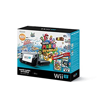Games Nintendo Wii U Deluxe Set: Super Mario 3D World and Nintendo Land Bundle - Black 32 GB