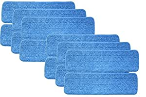 "Turkey Creek Essentials 12 Microfiber Mop Pads 18 Inch Washable Commercial Quality, Replacement Refills for Hook and Loop Flat Mops - Use Wet or Dry, 18"" L X 5.5"" W, 12Pk"