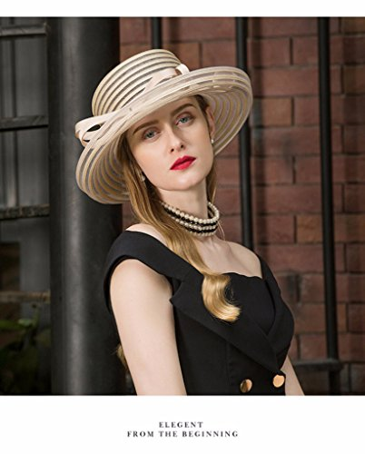 Krastal Womens Fascinators British Ladies Wide Brim Hat Vintage Kentucky Derby Fedora by Krastal (Image #6)