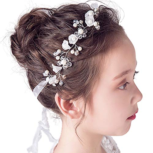 Princess Headpiece White Flower Girls Headband Pearl Hair Accessories Women Bridal Wedding Tiaras