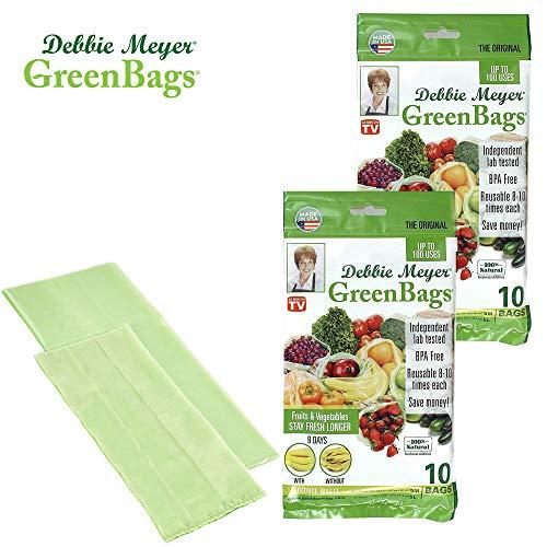 Debbie Meyer GreenBags - Reusable BPA Free Food Storage Bags, Keep Fruits and Vegetables Fresher Longer in these GreenBags!  20 Pack (10 Medium, 10 Large)