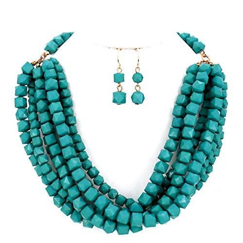 Women Jewelry Red Yellow Layered Beaded Statement Necklace and Earrings Set (Mint - Set Earring Necklace Beaded And