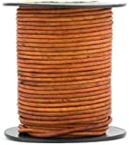 Brown Light Natural Dye Round Leather Cord 2mm 100 Meters(109 Yards)