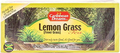 Caribbean Dreams Lemon Grass Tea, Fever Grass Tea, 24 tea bags, 100% Natural Lemon Grass Tea from Jamaica