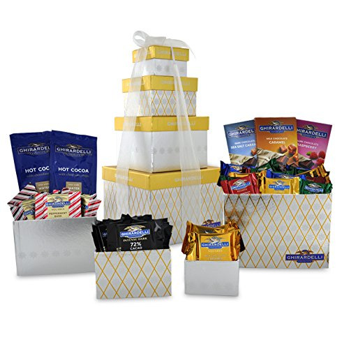 Chocolate Usa Gift Tower - Ghirardelli 4 Tier Tower Holiday Chocolate Gift Set, Gold/Silver, 27.2 Ounce
