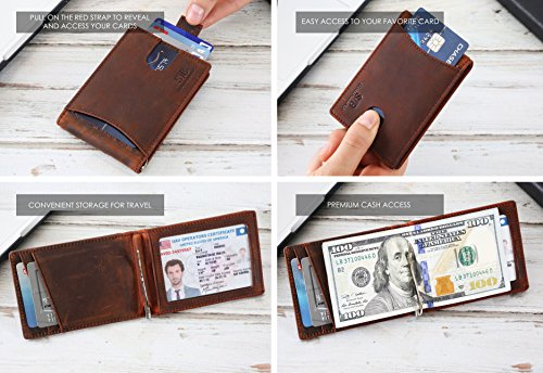 Travel Wallet RFID Blocking Bifold Slim Genuine Leather Thin Minimalist Front Pocket Wallets for Men Money Clip - Made From Full Grain Leather (Canyon Red 1.0) by SERMAN BRANDS (Image #3)
