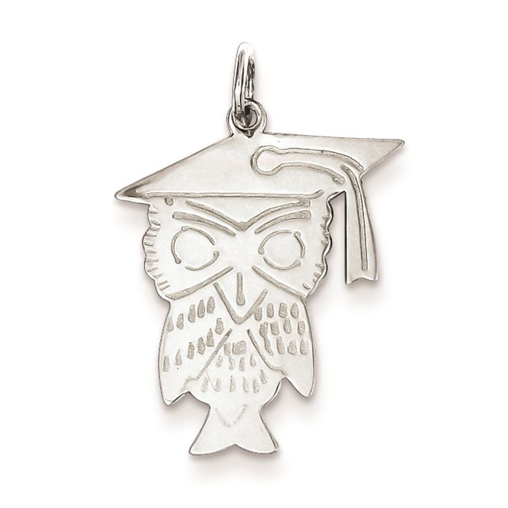 925 Sterling Silver Polished Owl Charm Pendant 22mm x 19mm