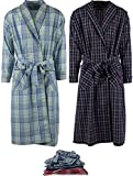 Mens 2 Pack Long Sleep Robe, Premium Cotton Blend Woven Lightweight Bathrobe (Small/Medium, 2 PK-Assorted Plaids)