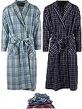 Mens 2 Pack Long Sleep Robe , Premium Cotton Blend Woven Lightweight Bathrobe (XX-Large/XXX-Large, 2 PK-Assorted Plaids)