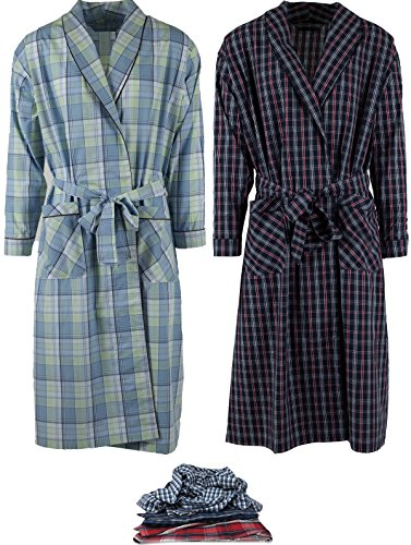 Mens 2 Pack Long Sleep Robe, Premium Cotton Blend Woven Lightweight Bathrobe (Small/Medium, 2 PK-Assorted Plaids) by Andrew Scott