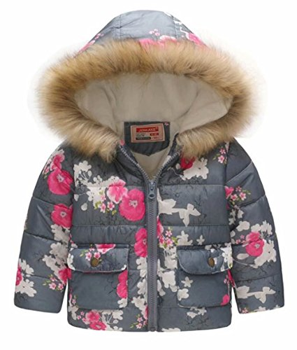 EGELEXY Kids Snowsuit Toddler Girl Winter Coat Fleece Lining Fur Hooded Thickened Jacket Size 5-6 Years/Tag120 ()