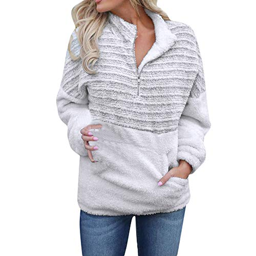 Hood White Clothing (Women's Warm Long Sleeves Pullover Sweatshirts Winter Fluffy Hoodie Top Elegant Hooded Pullover Jumper Plus Size (XL, White #No Hood))