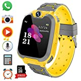 Kids Game Smart Watch Phone for Students, Girls Boys Touch Screen Smartwatch with MP3 Play SOS Camera Game Alarm Clock, Children's Gift Back to School (X6 Yellow)