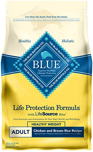Blue Buffalo Life Protection Formula Healthy Weight Dog Food – Natural Dry Dog Food for Adult Dogs – Chicken and Brown Rice – 6 lb. Bag