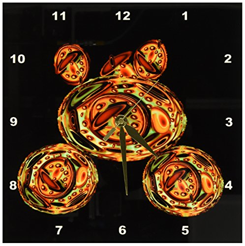 dpp_27612 Jaclinart Steampunk Cogs Gears Wheels Space Retro Psychedelic Military Fantasy Spaceship - Steampunk military gold orange green tank floating in space on black background - Wall Clocks 3