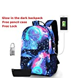 School Canvas Glow Backpack with USB Charging Port - Fashon glow in the dark Galaxy Backpack, Laptop Bag Shoulder Day pack Handbag For Boys, Girls, Men, Women, Teen